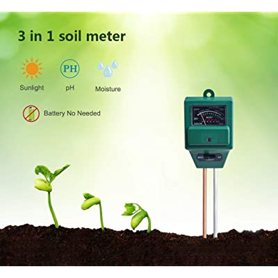Iusun Soil Tester, 3 in 1 Soil Moisture/Light/pH Meter Tester Gardening Tool- for Plant, Vegetables, Garden, Lawn, Farm, Indoor & Outdoor Use - Plug and Read Gardening Care Tool Kits (Green): Sports & Outdoors