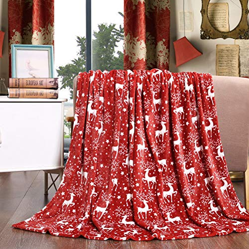 Elegant Comfort Velvet Touch Ultra Plush Christmas Holiday Printed Fleece Throw/Blanket-50 x 60inch, (Reindeer), 50 x 60 inch (Fuzzy Christmas Blankets)