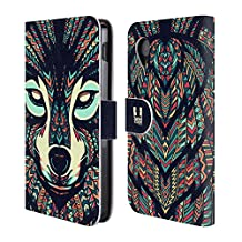 Head Case Designs Wolf Aztec Animal Faces Leather Book Wallet Case Cover For LG Nexus 5