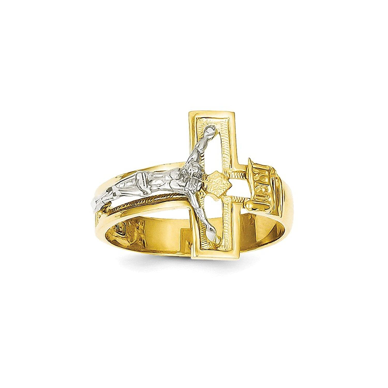 14k Two-tone Gold Crucifix Men's Ring Size 10