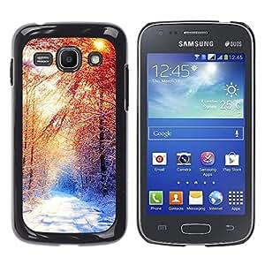 TaiTech / Prima Delgada SLIM Casa Carcasa Funda Case Bandera Cover Armor Shell PC / Aliminium - Invierno Hermoso Forrest - Samsung Galaxy Ace 3