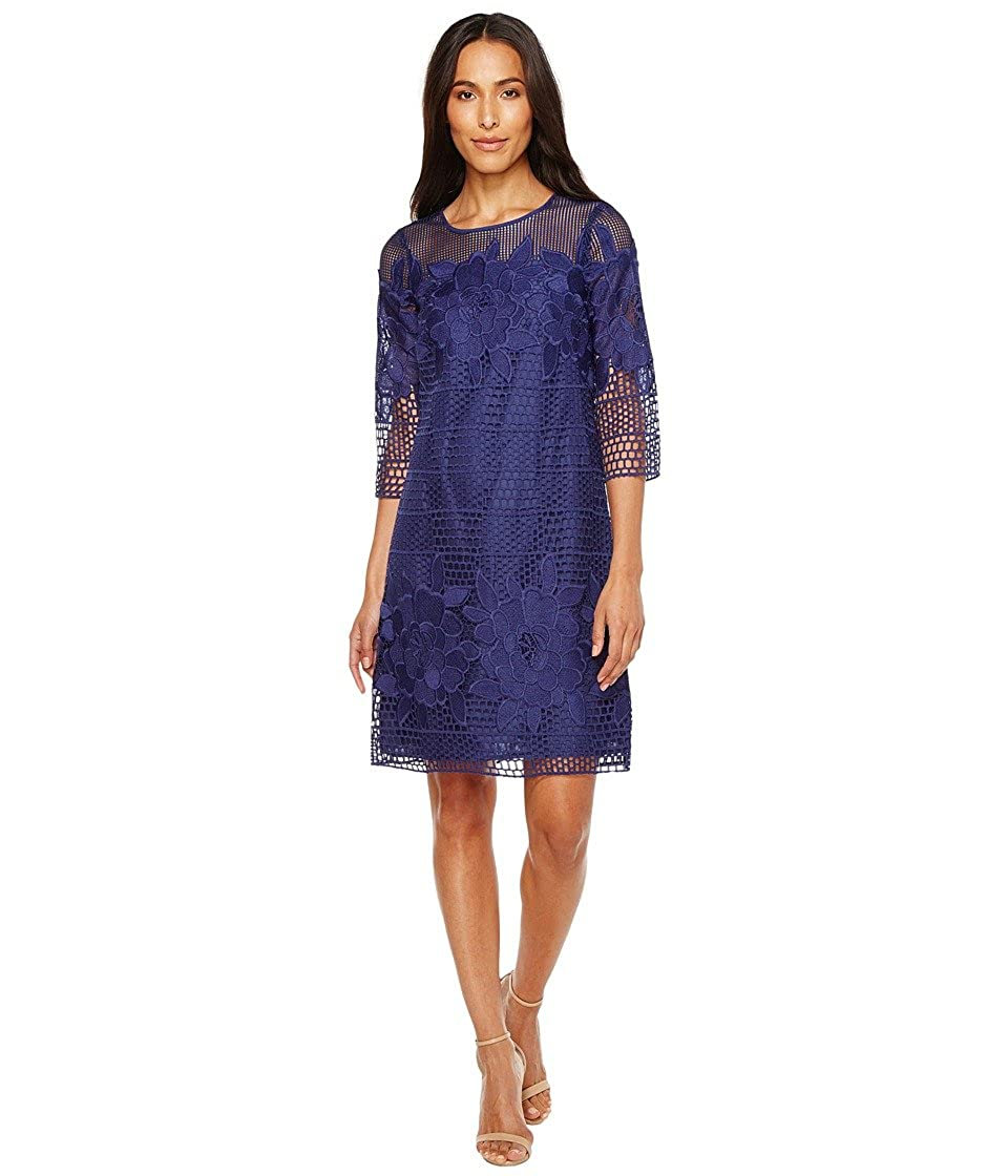 0e2bd5f74c Adrianna Papell Women's Havana Gardens Lace Long Sleeve Shift Dress Blue  Sapphire Dress at Amazon Women's Clothing store: