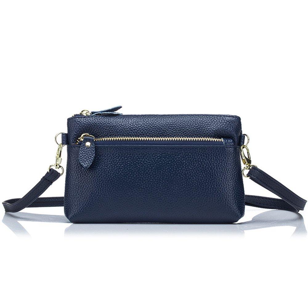 Women Leather Wallet Wristlet Zip Long Purse Lady Phone Handbag for Girl Blue