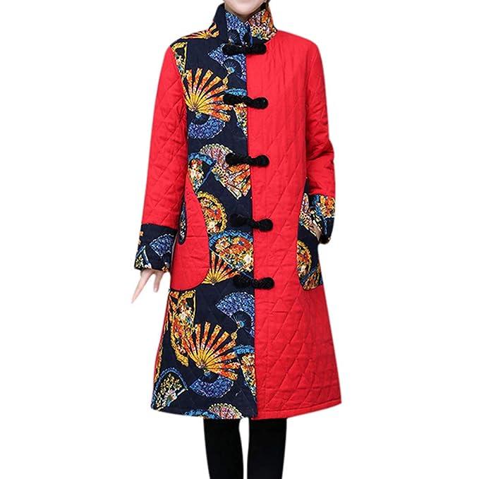 Linlink Abrigo de Mujer LiquidacióN Temporada De OtoñO E Invierno Costura Bolsillo Folk-Botones Personalizados De ImpresióN De AlgodóN Outwear Caliente ...