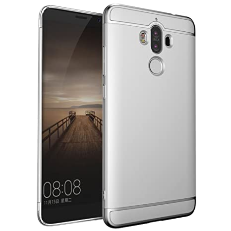 Huawei Mate 9 Funda, WindCase Anti-Arañazos Case Enchapado de 3 Piezas Ultrafina Plástico Duro Carcasa para Huawei Mate 9 Plata