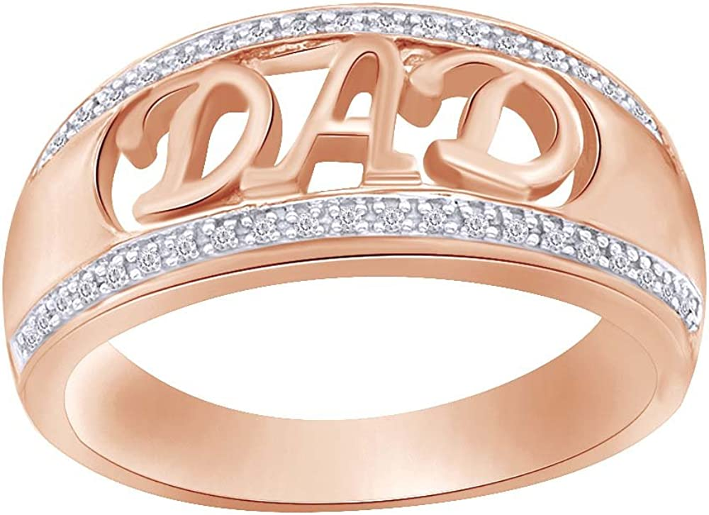 For Daddy Gift 1//10 Cttw Round Cut Real Diamond DAD Ring 14K Gold Over Sterling Silver