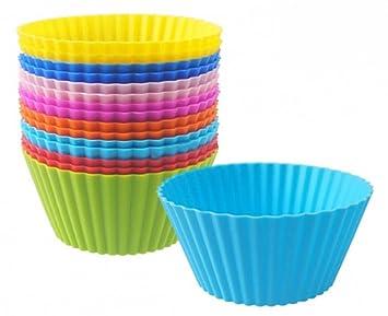 tieno moldes para cupcakes de silicona reutilizables con ocho colores antiadherente resistente al calor Mini Rainbow Muffin Moldes unidades para cupcakes: ...