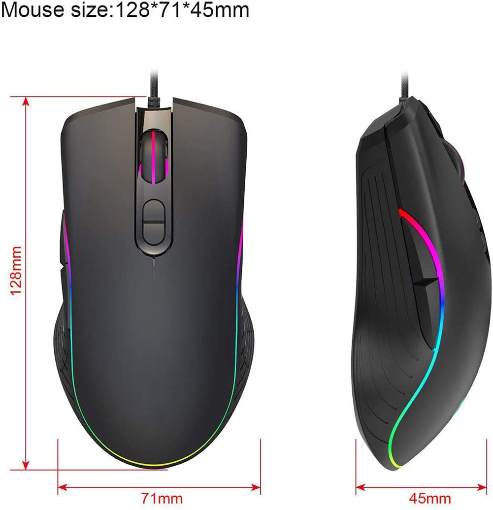 Ergonomic Game USB Computer Mice RGB Gamer Desktop Laptop PC Gaming Mouse for Windows 7//8//10//XP WANGJIANGLI Gaming Mouse Wired