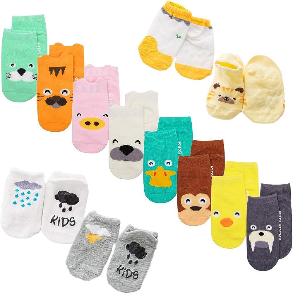 XM-Amigo calcetines de bebé, 22 pares/juego, impresión de animales, calcetines con empuñaduras antideslizantes para bebé niñas niños