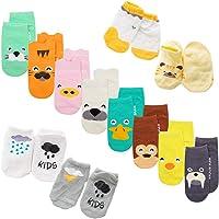 XM-Amigo calcetines de bebé, 22 pares/juego, impresión de animales, calcetines con empuñaduras antideslizantes para bebé…