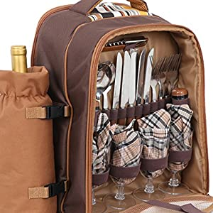 LEMY 4 Person Premium Picnic Outdoor Backpack Bag With Blanket – Woven Grey Waterproof Finish, Includes 17 Piece Dining Set and Insulated Cooler Compartment