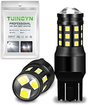 TUINCYN 7443 W21W T20 992 7440 7444NA LED Brake Light Bulbs Red 2835 21 SMD LED Light Auto Tail Light Backup Reverse Light Turn Signals Stop Parking Light Lamp 2-Pack