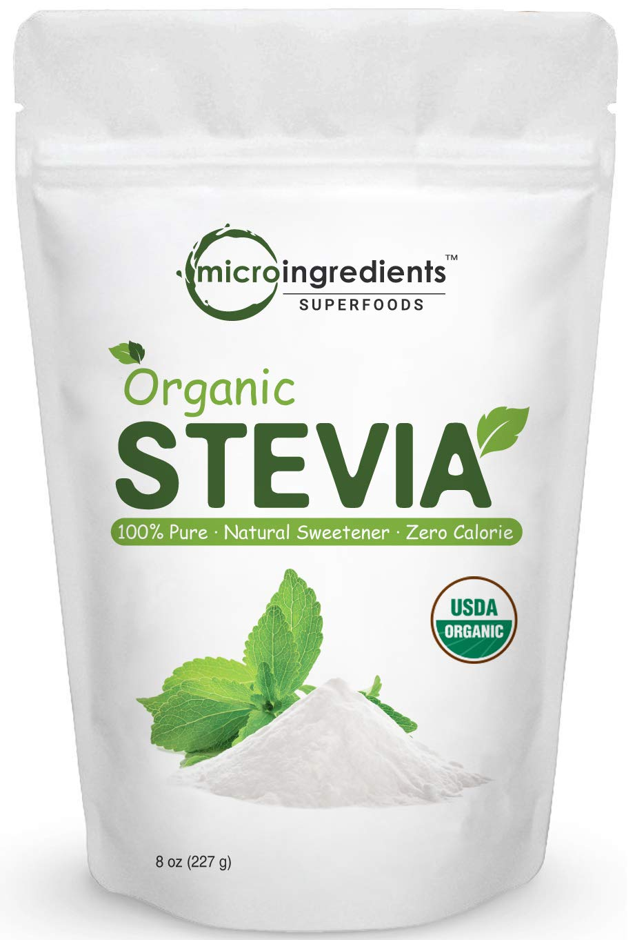 Pure Organic Stevia Powder, 8 Ounce, 1418 Serving, 0 Calorie, Natural Sweetener and Sugar Alternative, No GMOs and Vegan Friendly by Micro Ingredients (Image #1)