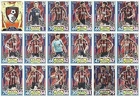 de AFC Bournemouth 18 tarjetas Match Attax 2016//17 completo equipo