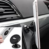 LILER Mini Universal Magnetic Car Mount For any Phone, GPS   iPhone 7/6/5 Galaxy S7/S6   Cell Phone Holder   Dashboard Mount   Magnetic Cell Phone Holder for Car, Home and Office (Black)
