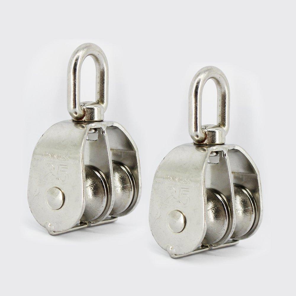 Polea de inversi/ón Cimostyle con polipasto de cable Ideal para trabajos de construcci/ón y movimiento de acero inoxidable 2 unidades.