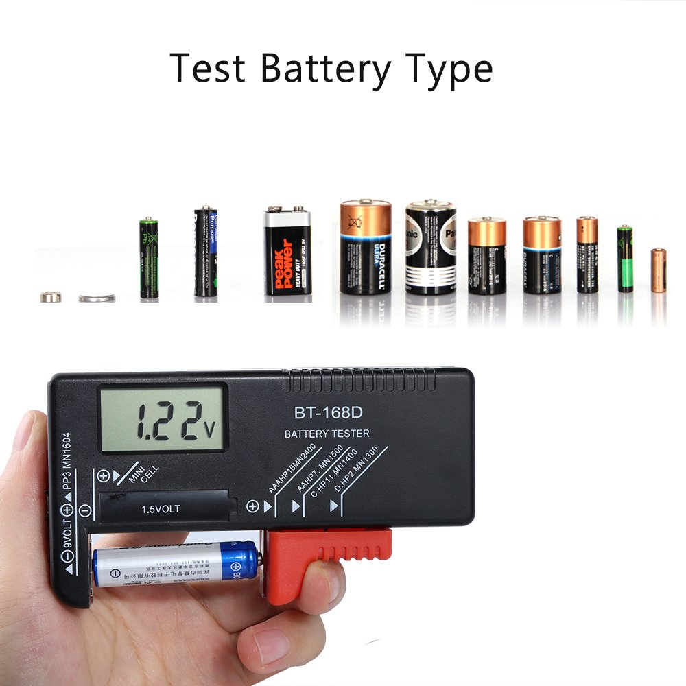 Testeurs de piles,Pomisty Num/érique Testeur de Piles Universel Testeur Batterie V/érification de Batteries Boutons AA Piles AAA C D Piles 1.5V 9V