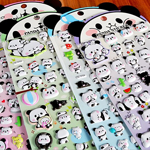Panda Album 4 Sheets Cute Lovely Puffy DIY Decorative Adhesive Sticker Tape//Kids Craft Scrapbooking Sticker Set for Diary