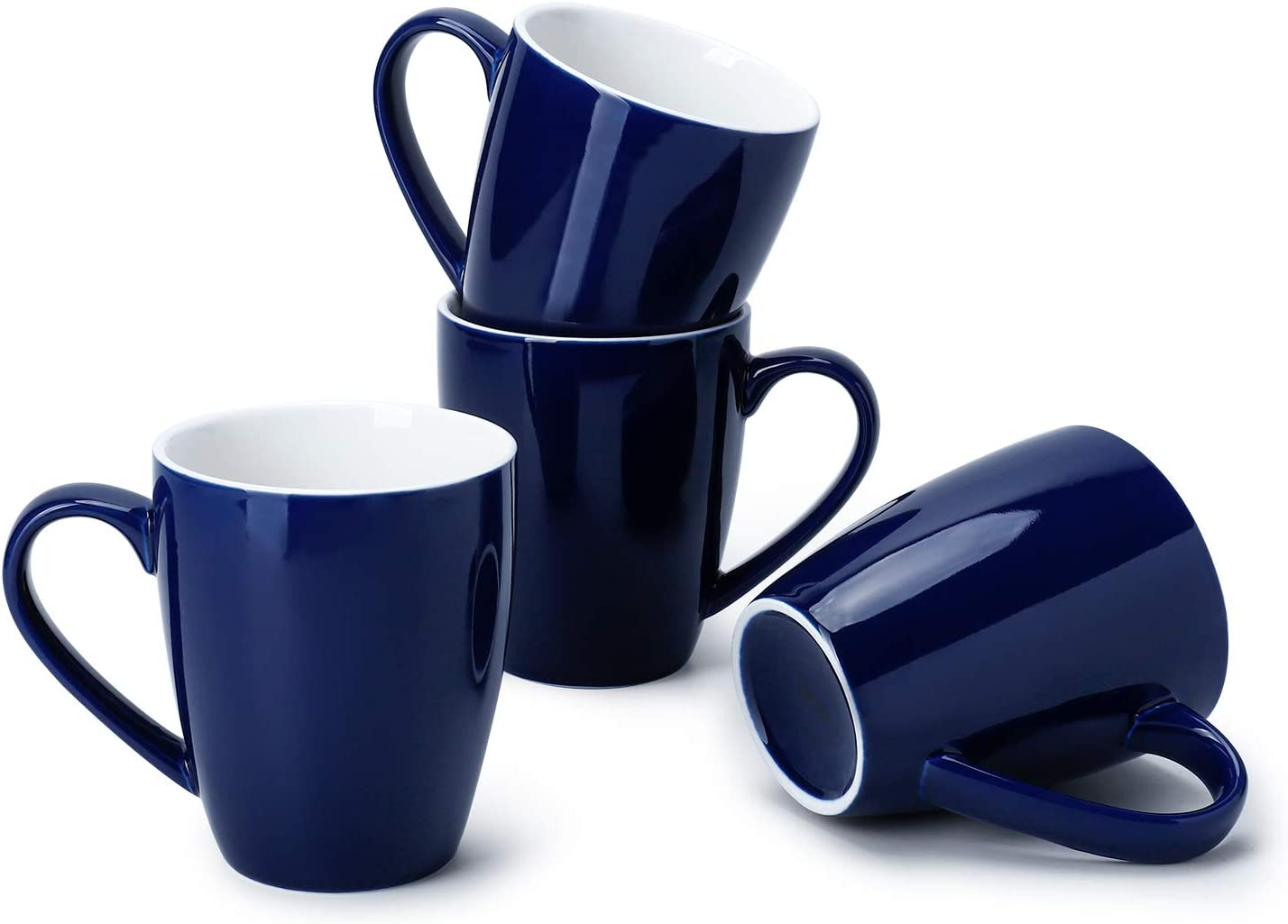 Sweese 601.103 Porcelain Mugs - 16 Ounce (Top to the Rim) for Coffee, Tea, Cocoa, Set of 4, Navy