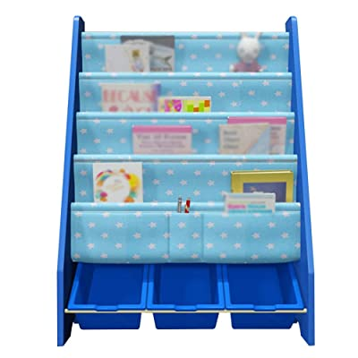 XJJUN-Estanterías Infantiles Bandeja De Almacenamiento De Pie 4 Capas Escalera Creativo Alta Capacidad Base Resistente Madera Maciza, 5 Colores (Color : Blue-B): Hogar