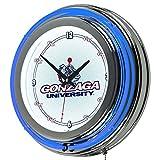 Trademark Gameroom NCAA Gonzaga University Chrome Double Ring Neon Clock, 14''