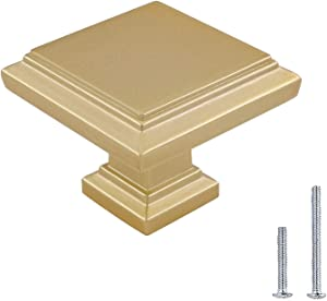 15 Pack Brushed Brass Cabinet Knobs Gold Drawer Knobs - LONTAN Square Cabinet Knobs Gold Knobs for Dresser Drawer Kitchen Cabinet Hardware, Single Hole