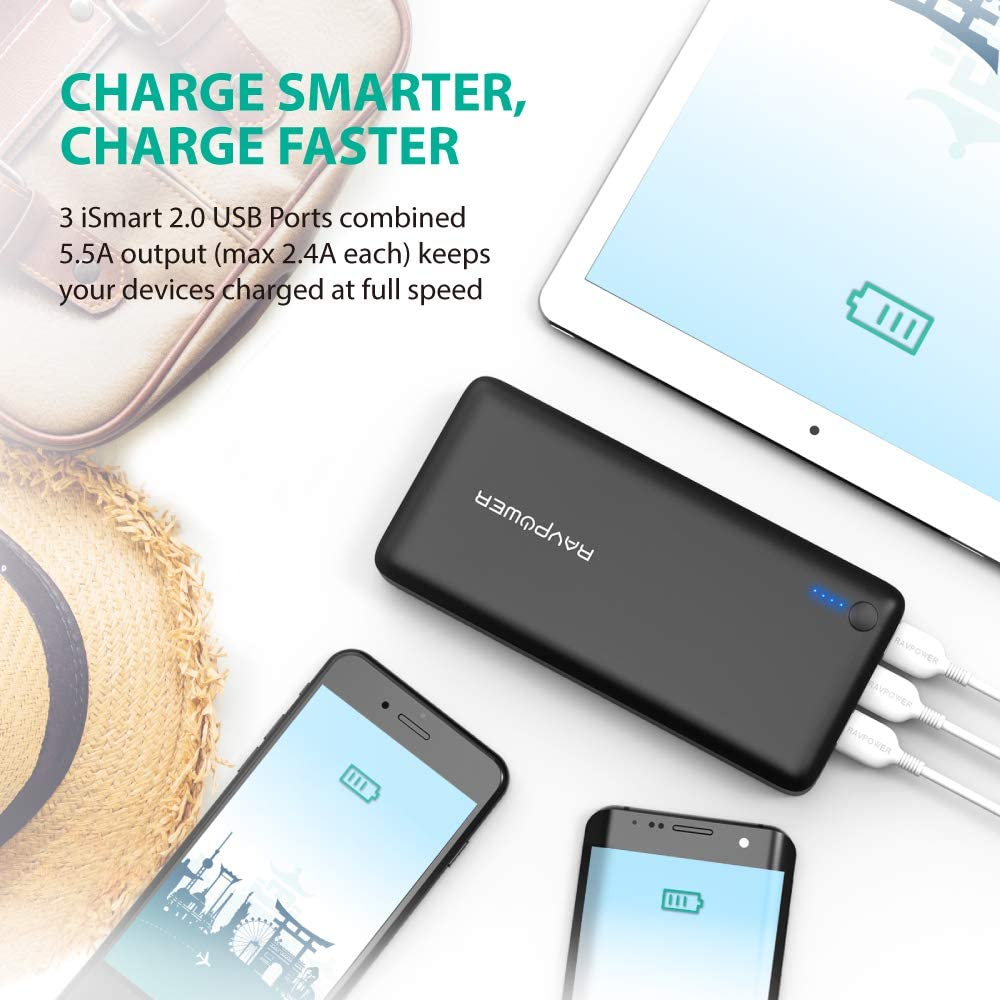 Portable Phone Charger Other Smart Devices 2.4A Input, iSmart 2.0 USB Power Pack RAVPower 26800mAh Power Bank Portable Charger Total 5.5A Output 3-Ports External Battery Packs Black