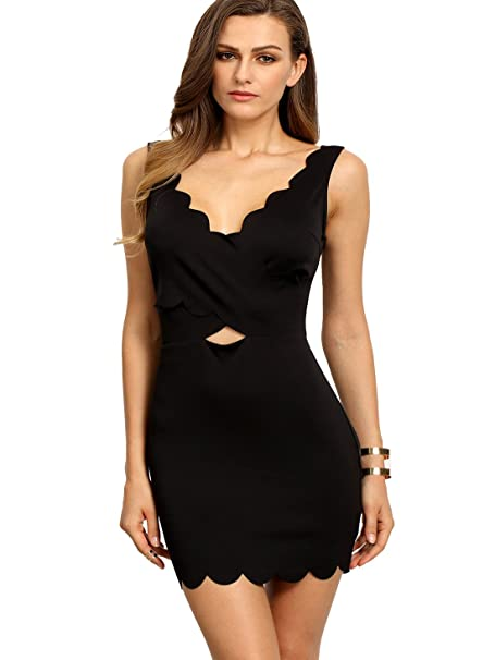 b3936632fb9 SheIn Women s V-Neck Sleeveless Hollow Backless Bodycon Dress Large Black