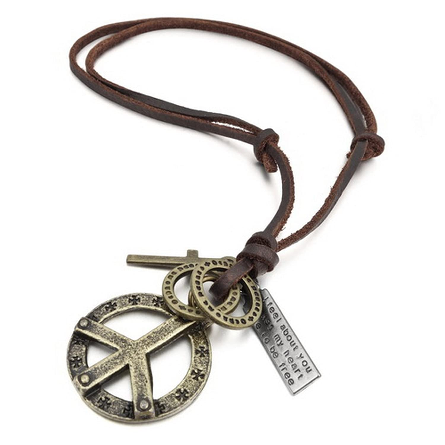 Amazon inblue mens alloy genuine leather pendant necklace amazon inblue mens alloy genuine leather pendant necklace gold tone cross peace sign adjustable 1626 inch chain jewelry mozeypictures Choice Image