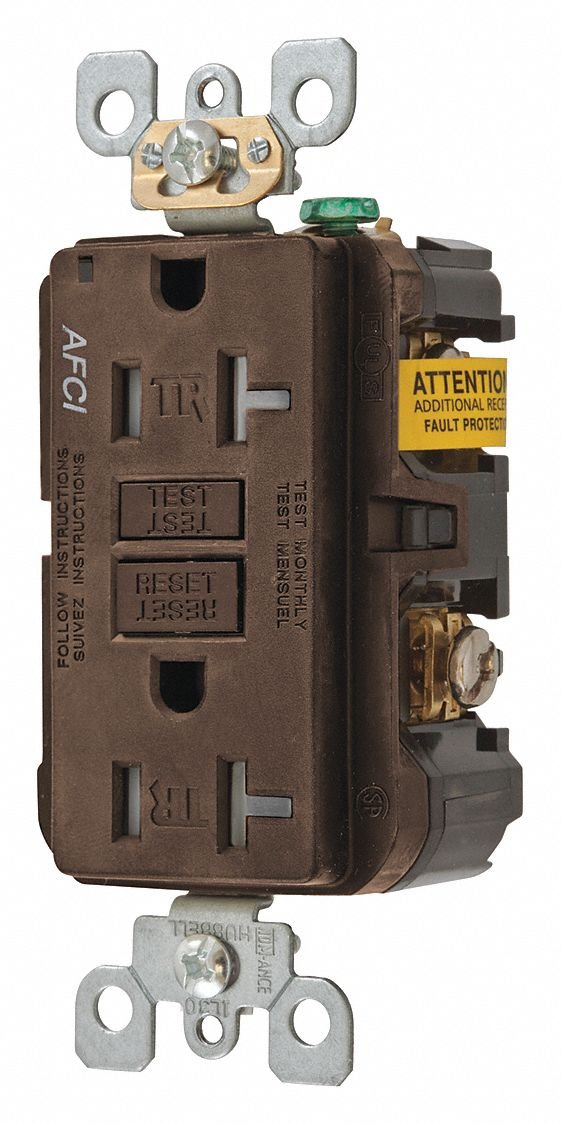 hubbell wiring device-kellems 20a commercial environments arc fault  receptacle, brown