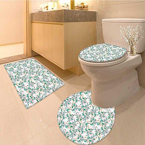 3 Piece Bath mat set Picturesque Bouquet with Mi Daisy Wild and Honeysuckles Vintage Illustration Fabric Bathroom Rugs Contour Mat Lid Toilet - Daisy Fabric Flannel
