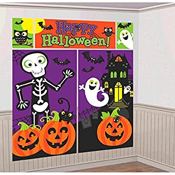 amscan family friendly halloween trick or treat scene setters room decorating kit multicolor 59quot