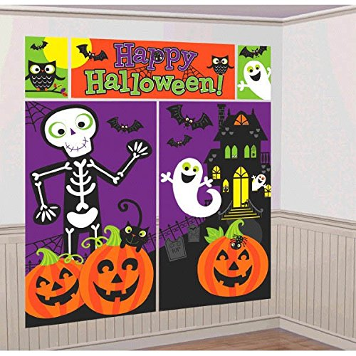 amscan Family Friendly Halloween Trick or Treat Scene Setters Room Decorating Kit, Multicolor, 59