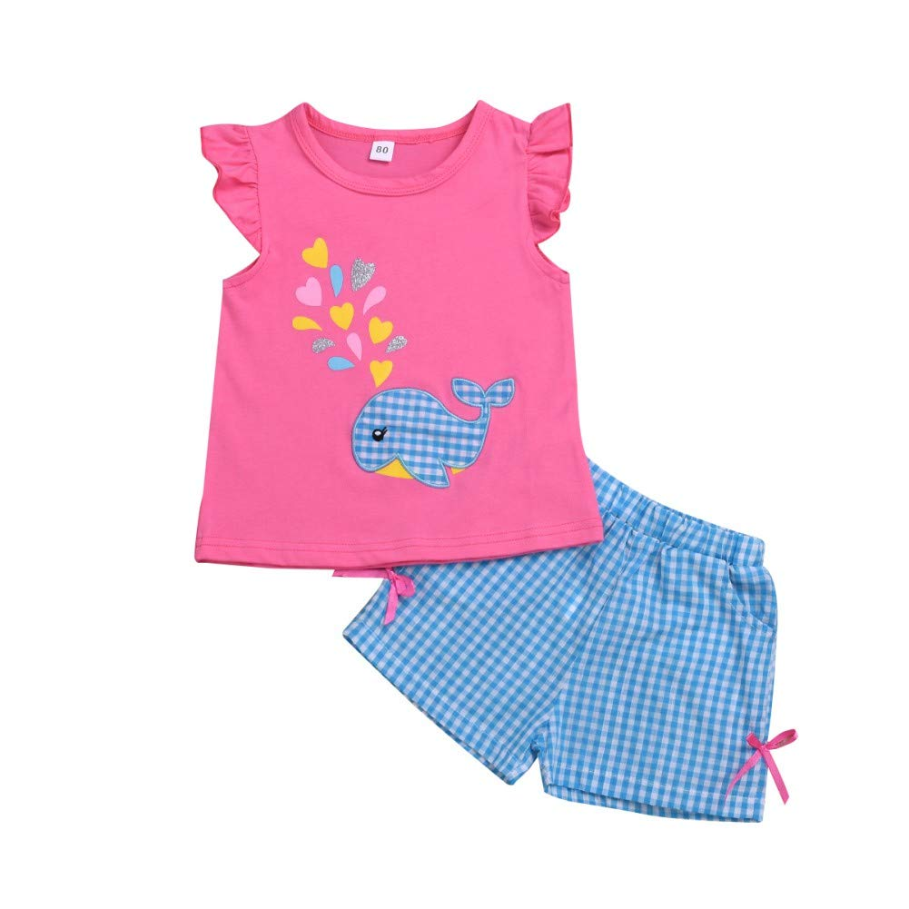 Gyratedream Girls Clothing Suits 1-6 Years Summer Kids T-Shirt Shorts Sets Whale Printed Short Flutter Sleeve Round Collar Tops Plaid Pants Casual Outfits Set