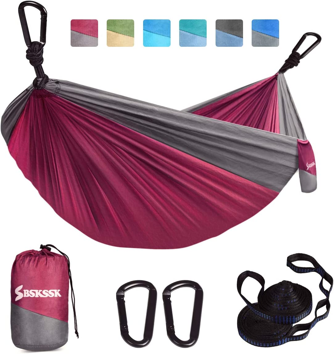 BSKSSK Camping Hammock, Double Single Portable Lightweight Travel Parachute Hammock Swing with 2 Tree Straps 2 D-Shape Carabiners for Indoor Outdoor Backpacking, Beach, Yard, Hiking and Garden