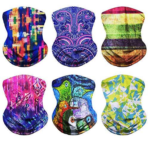 VCZUIUC Headband Neck Warmer Multifunction Headwear Scarf Seamless Bandana Magic Face Mask, Fishing Hiking Motorcycle Skiing Running (6 Mixed Color)