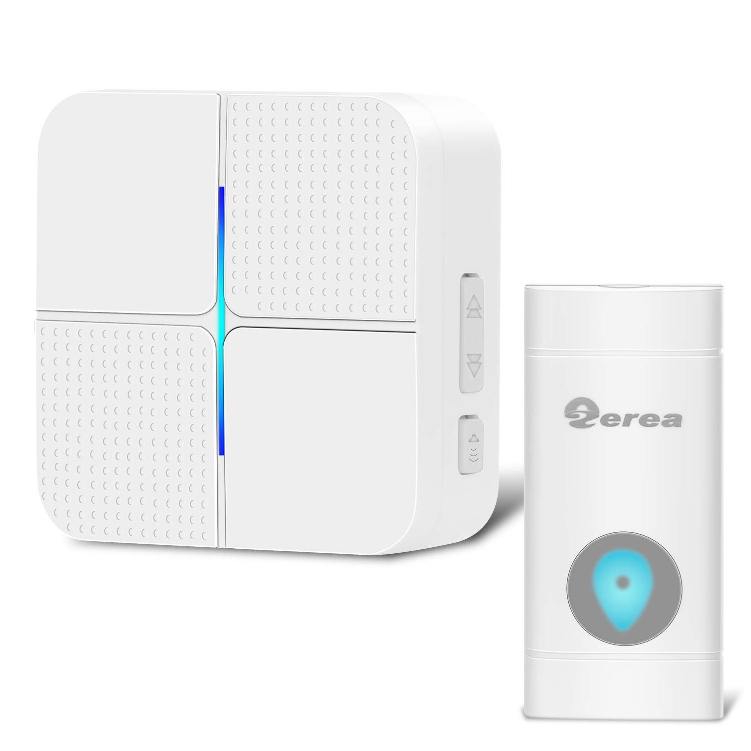 Wireless Doorbell Operating at over 600 Feet Range with Plug-In Receiver, Waterproof Door Bell Chime Kit with 52 Melodies, 4-Level Volume & Blue LED Flashing Light, Battery Included ZEREA Model X5