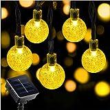 イルミネーション 屋外 ソーラー ライト 飾り 30LED ソーラー充電式 ガーデンライト LED ストリングライト 8発光モード 夜間自動点灯 屋外 防水 耐熱 クリスマス 新年 結婚式 ボール型 全長6.5m MixMall(ウォームホワイト) (ウォームホワイト, 6.5)