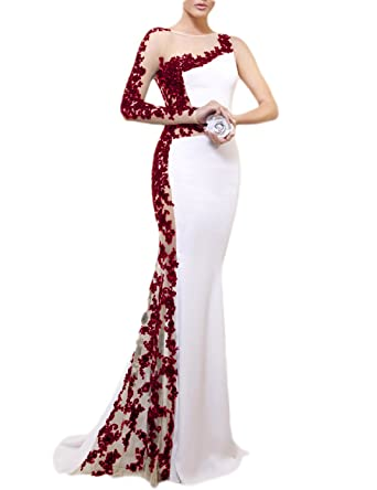 5643d05afc1 OYISHA Womens Long Sexy Lace Mermaid Prom Dress with Sleeve Formal Satin  Evening Party Gowns Burgundy