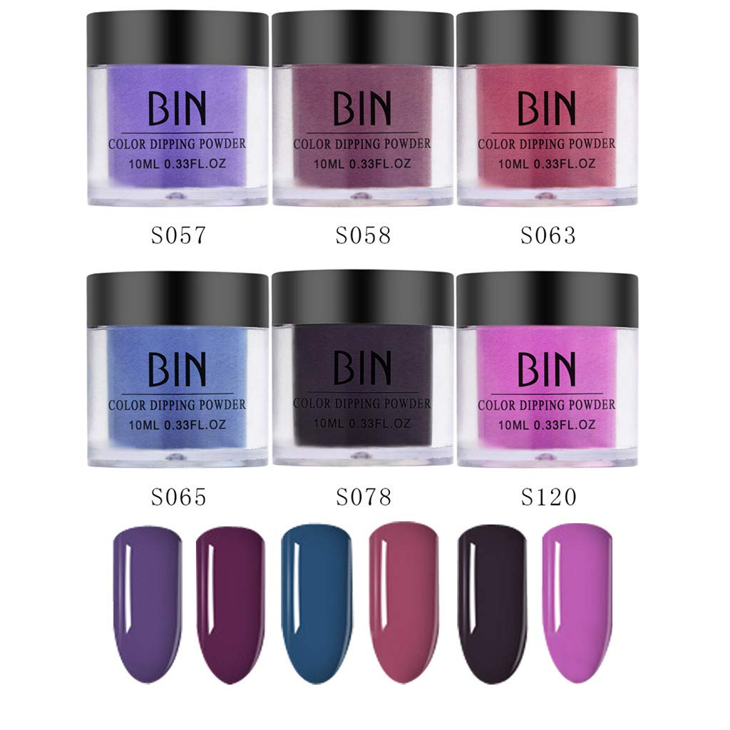 6PCS Nails Dip Powder Without Lamp Cure Natural Dry Nail Art Powder(Standard), for Both Professional Salons and Beginner, 0.25oz / pot.3 by gofh