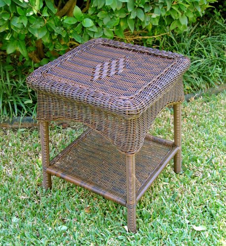 International Caravan 3188-AP-IC Furniture Piece PVC Resin and Steel Outdoor Side Table, Antique Pecan
