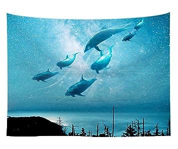 Azul Fantastische Acuarela Ballenas Cielo Pared Alfombra De ángeles
