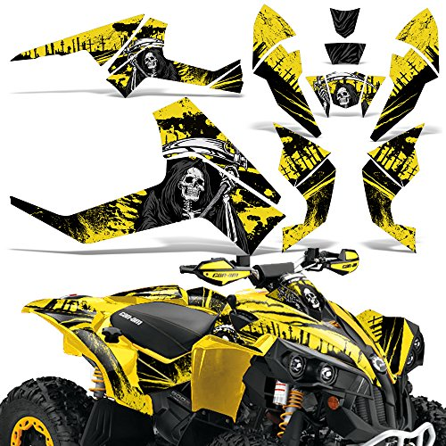 (CanAm Renegade X R Graphic Kit ATV Quad Decals Wrap Can Am 500/800/1000 REAPER YELLOW)