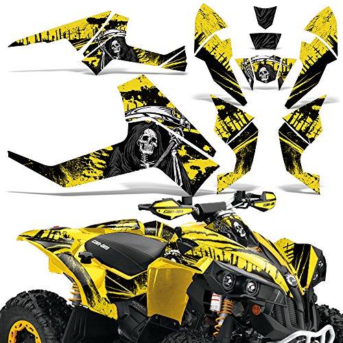 Decals Atv Quad - CanAm Renegade X R Graphic Kit ATV Quad Decals Wrap Can Am 500/800/1000 REAPER YELLOW