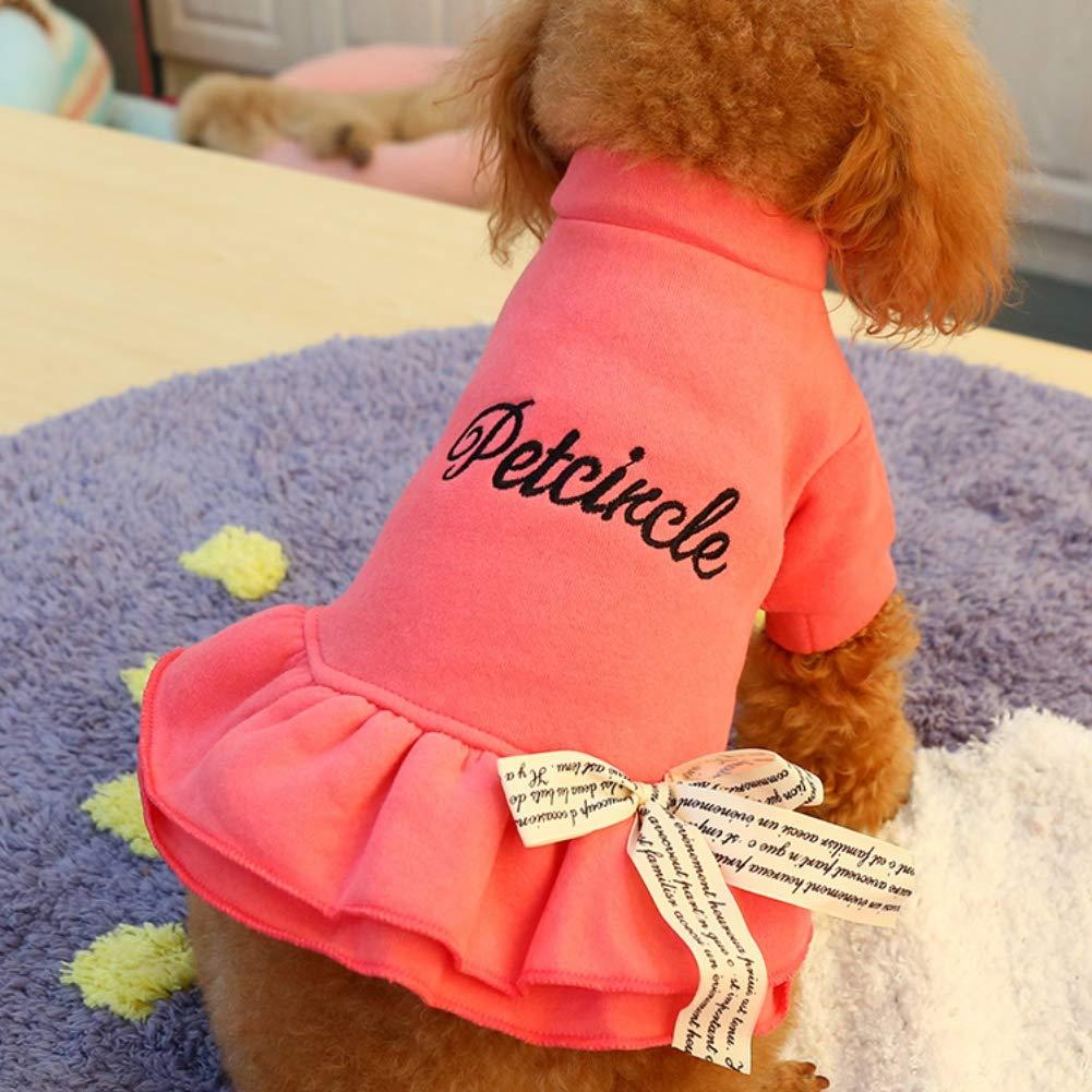 Ofanyia Manteau d'hiver Robe de Chat Automne avec Lettre Chiot Bowknot vêtements de Chien vêtements de Caniche Nounours pour Petit Animal de Compagnie