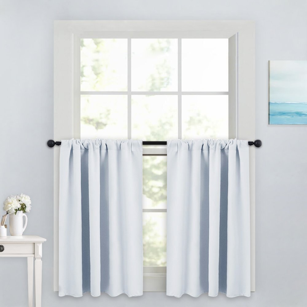 PONY DANCE White Window Tier Curtain Valances - Rod Pocket Top Thermal Insulated Curtains Drapes Room Darkening Energy Saving for Bedroom/Kitchen / Living Room, 42'' W x 36'' L, 1 Pair