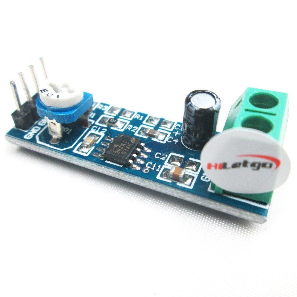 HiLetgo LM386 - Amplificador de audio (5 unidades, hasta 20 veces para Raspberry Pio Arduino)