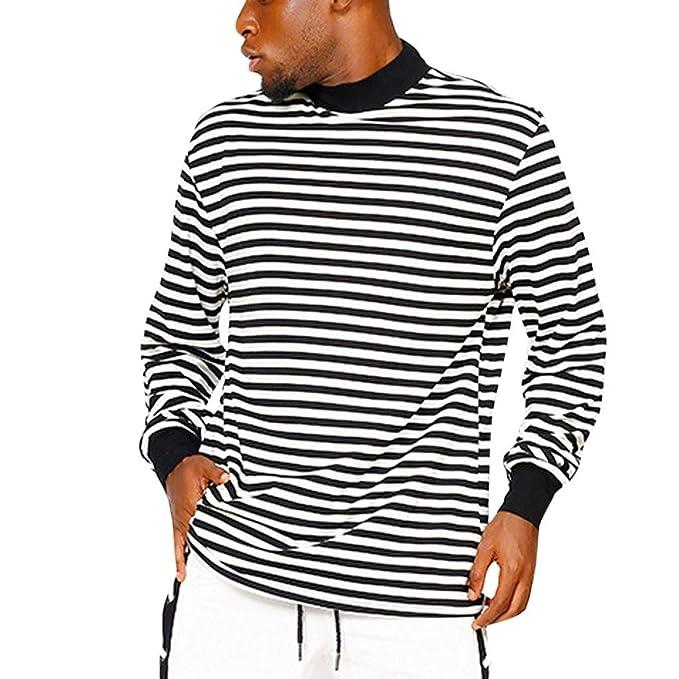 Y Blusa Cómodo Rayas Largas Camiseta Hombre Hombres Polos Mangas eEH9D2IWY