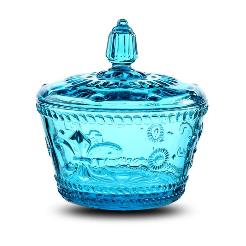 European Retro Nostalgic Three-Dimensional Relief Color Glass Jar Candy Jar Seasoning Jar With Lid