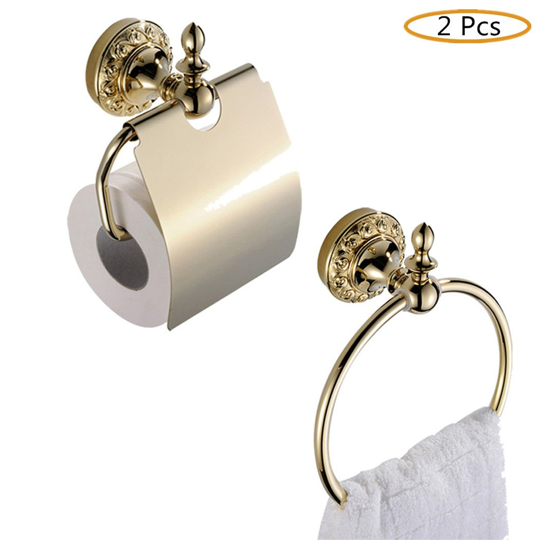 WINCASE Luxury Bathroom Accessory Set 2 Pieces Towel Ring Paper Holder with Cover all Solid Brass Construction Wall Mounted